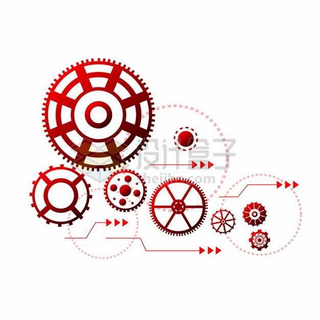红色科技风格齿轮装饰680132png图片素材