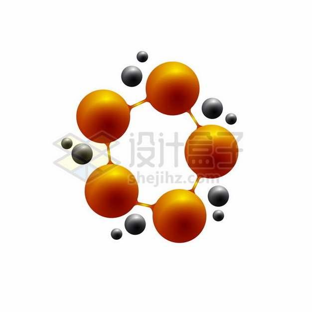 橙色小球连接在一起和黑色小球392712png图片素材