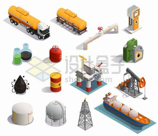 油罐车天然气管道磕头机LNG液化天然气船石油工业png图片素材