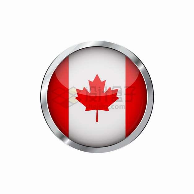 银色金属光泽边框加拿大国旗图案圆形按钮png图片素材
