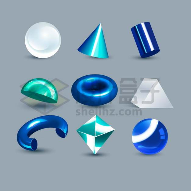3D立体玻璃圆球圆锥体圆圈等立方体png图片素材