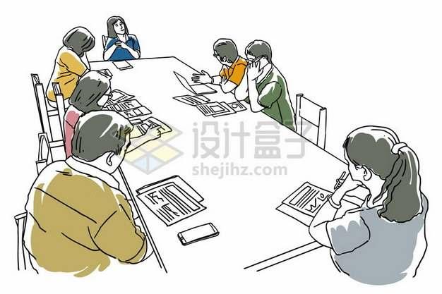 围坐在会议桌前开会的商务人士彩色素描插画654205png矢量图片素材