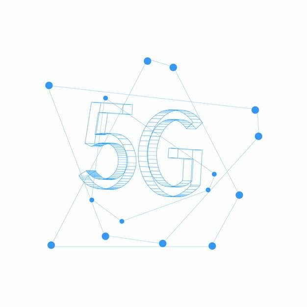 蓝色线条5G字体622667png图片素材