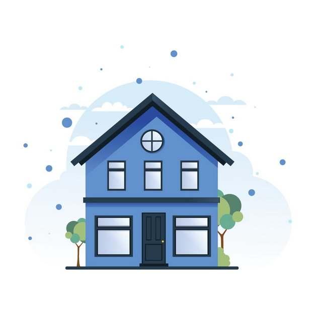卡通蓝色房子小别墅445986png图片素材