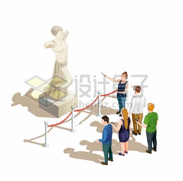 2.5D风格导游正在雕像面前和游客讲解482810png图片素材