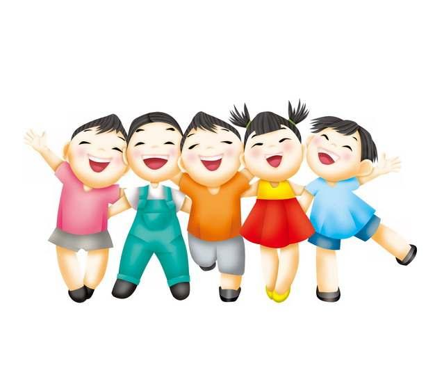 肩并肩拥抱在一起的快乐卡通儿童孩子270308png图片素材