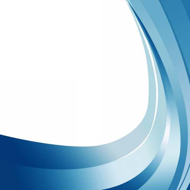 蓝色弧形波浪形装饰边框572957png图片素材