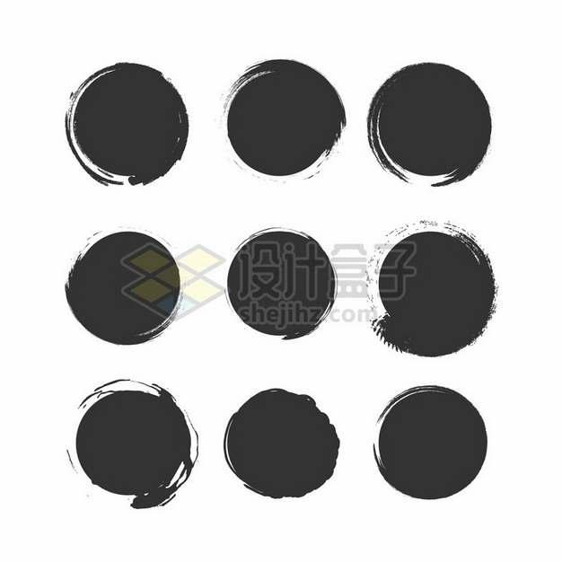 9款水墨涂鸦风格圆形背景装饰276790png图片素材