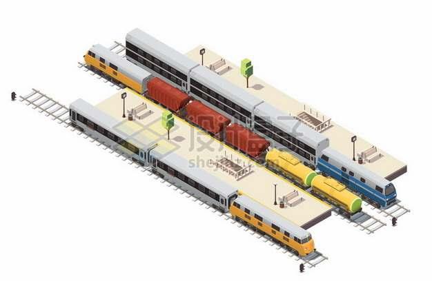 3D风格货运客运火车列车和铁路车站设施159400png图片素材