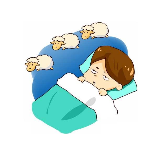 卡通男孩失眠睡不着数羊916041png图片素材