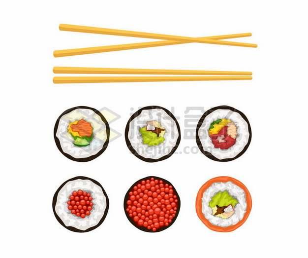 两双竹筷子和各种寿司674448png图片素材