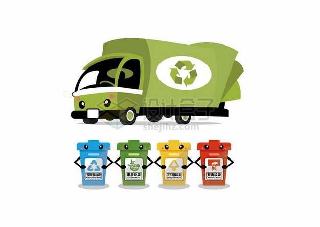 卡通垃圾车和垃圾桶垃圾分类手抄报插画193290png图片素材