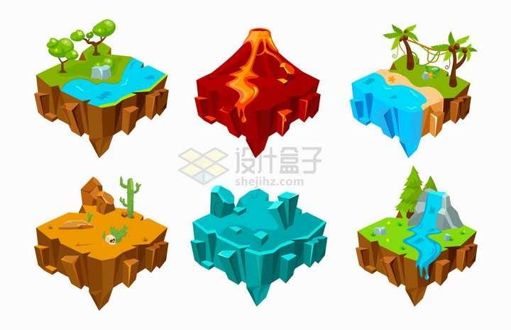 6款卡通悬空岛河流火山海滩沙漠冰山高山等风景png图片免抠矢量素材