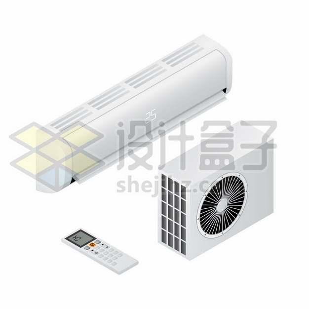白色挂壁式空调和空调外机以及遥控器237941png图片素材