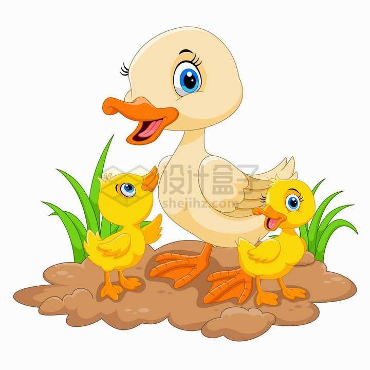 跟着鸭妈妈的小鸭子可爱卡通动物png图片免抠矢量素材