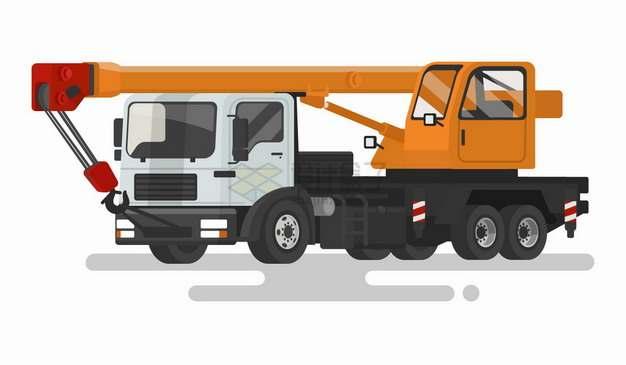 橙色的卡通车载吊车扁平插画png图片免抠矢量素材