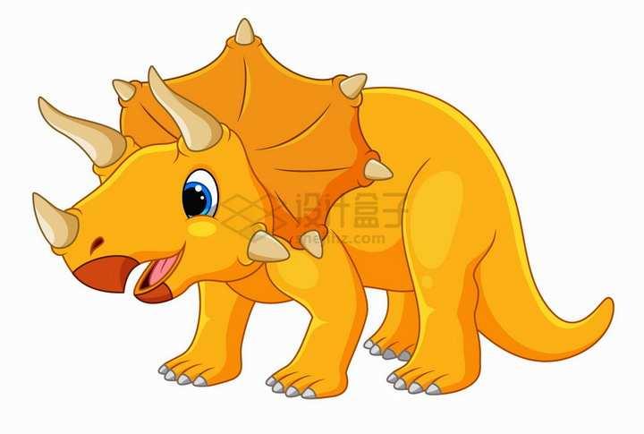 黄色三角龙恐龙可爱卡通动物png图片免抠矢量素材