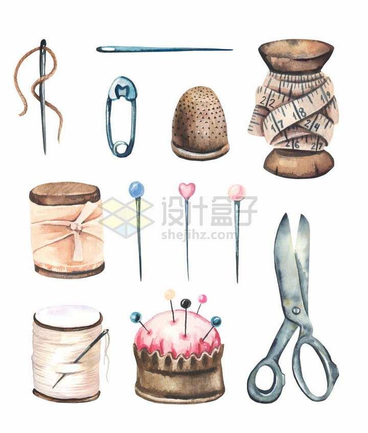 缝衣针别针皮尺剪刀等水彩画裁缝工具png图片免抠矢量素材