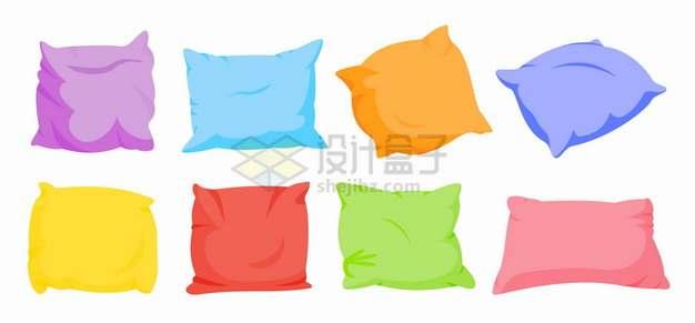 8款糖果色风格抱枕羽绒枕头png图片素材