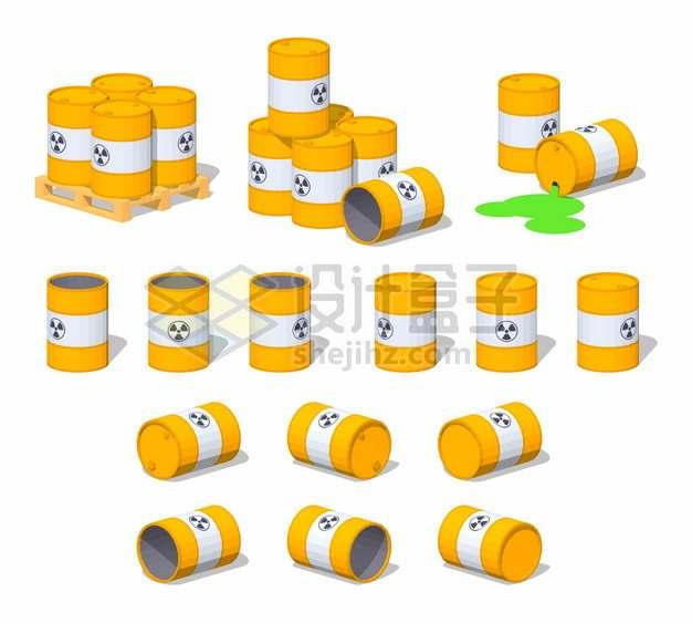 黄色化工桶木制托盘上的核废料铁桶png图片素材