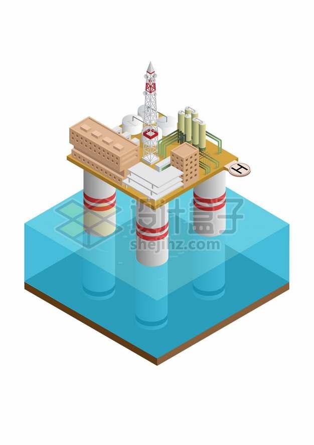 2.5D风格蔚蓝色海水和海上钻井平台石油开采工业png图片素材