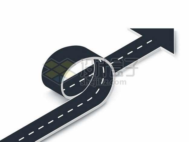 360度弯曲的折叠的道路马路公路方向箭头730746png矢量图片素材