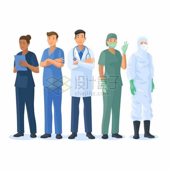 5个卡通医生医护人员png图片免抠矢量素材