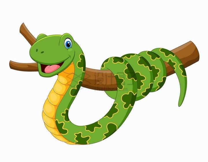 缠绕在树上的绿色蟒蛇可爱卡通动物png图片免抠矢量素材