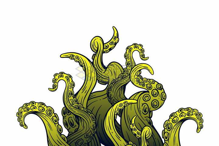 漫画风格绿色的章鱼爪子png图片免抠矢量素材
