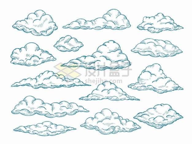 各种涂鸦云朵云彩手绘插画png图片素材