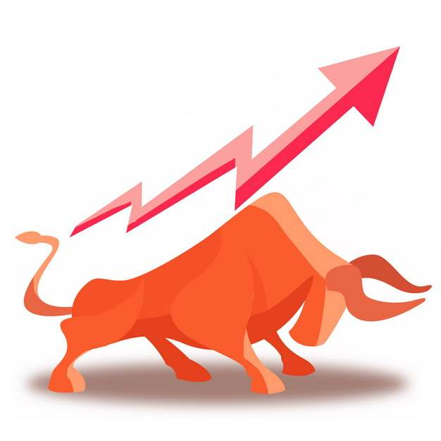 红色的牛市和上升箭头485442png图片免抠素材