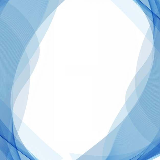 蓝色弧形波浪形装饰边框246798png图片素材