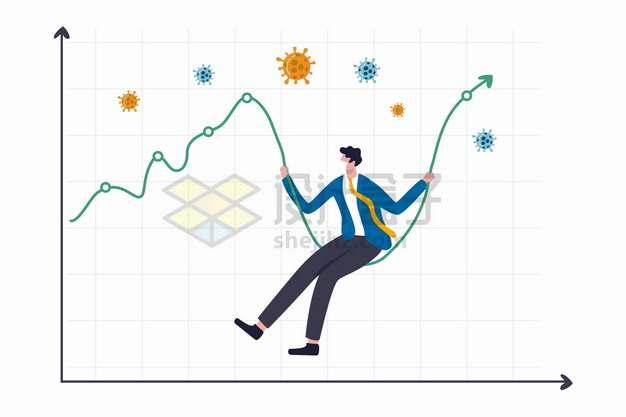 新型冠状病毒疫情导致的经济危机曲线和商务人士png图片素材