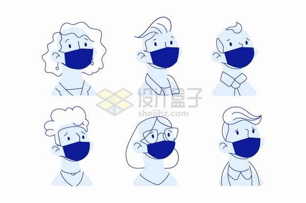 6个戴口罩的人蓝色线条插画png图片素材