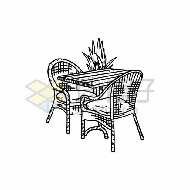 户外椅子桌子线条素描插画194690png矢量图片素材