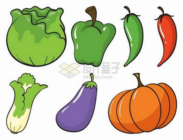 卡通包菜灯笼椒辣椒生菜茄子南瓜等美味蔬菜手绘插画png图片免抠矢量素材