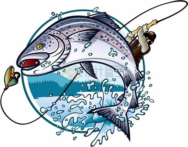 男人甩起手中的钓竿鱼儿准备咬钓钩钓鱼logo设计方案png图片素材