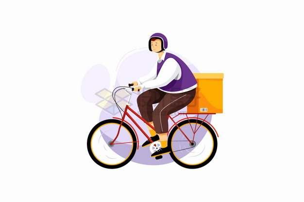 使用自行车送货的快递员png图片素材