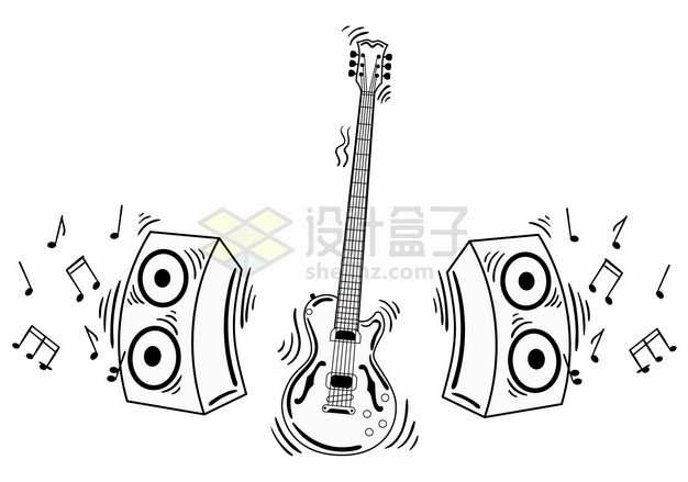 吉他和音响手绘音乐线条插画214607png矢量图片素材