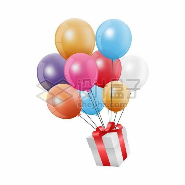 彩色气球吊着礼物png图片素材674728
