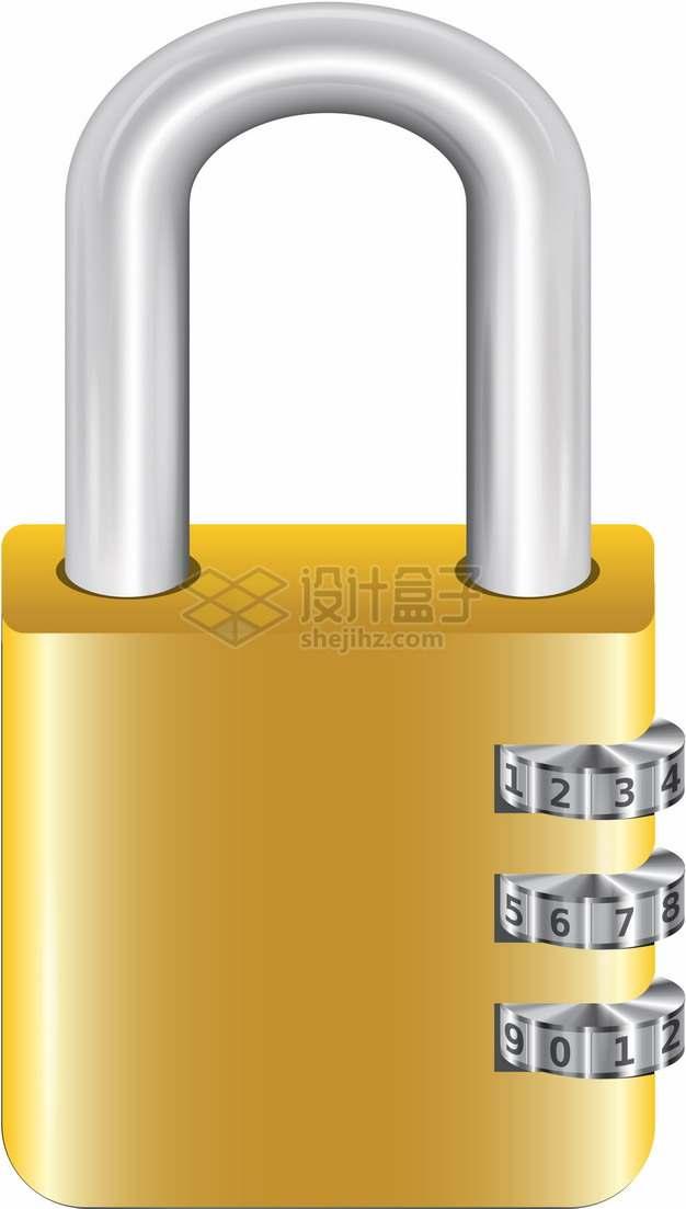 黄色密码锁挂锁png图片素材