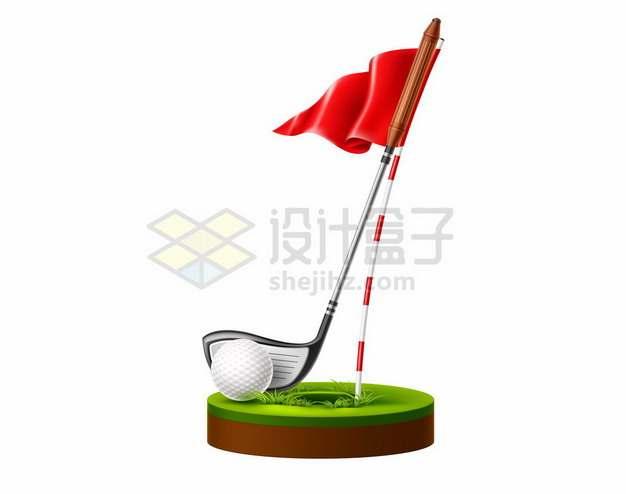 高尔夫球和球杆旗帜球洞等187869png图片素材