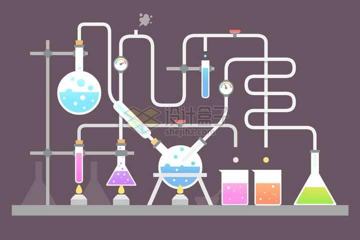 扁平化风格串联在一起的化学实验仪器装置png图片免抠矢量素材