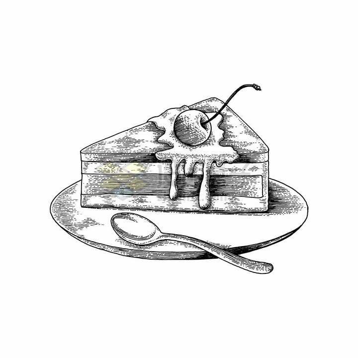 蛋糕美味西餐美食黑白手绘素描插画png图片免抠矢量素材