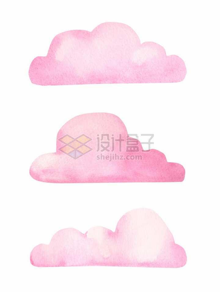 3款粉红色水彩画云朵图案png图片免抠矢量素材