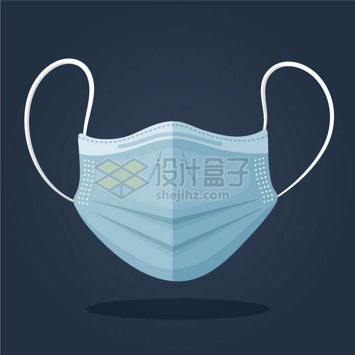深蓝色的一次性医用口罩正面扁平化风格png图片免抠矢量素材