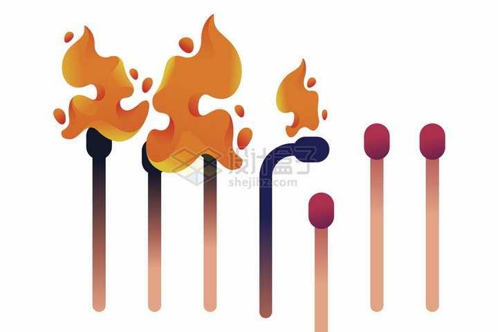 卡通风格燃烧的火柴png图片免抠矢量素材