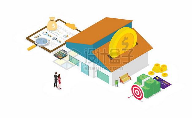 2.5D风格房子和购房合同金钱买房子696250png矢量图片素材 建筑装修-第1张