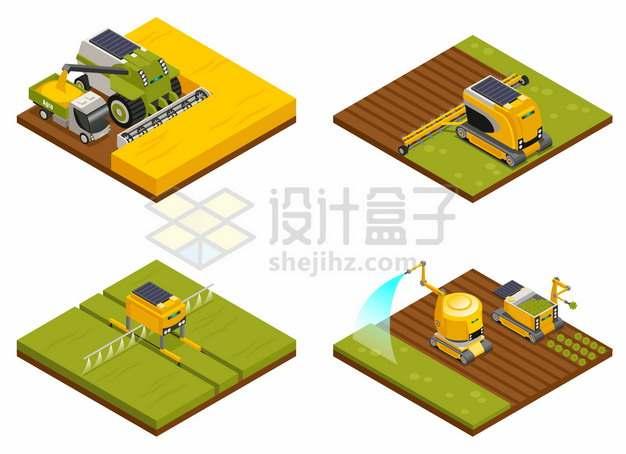 2.5D风格联合收割机和耕田浇水除草的农业机械png图片素材