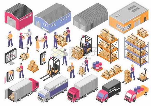 2.5D风格仓库卡车货物架叉车等物流快递行业png图片免抠矢量素材
